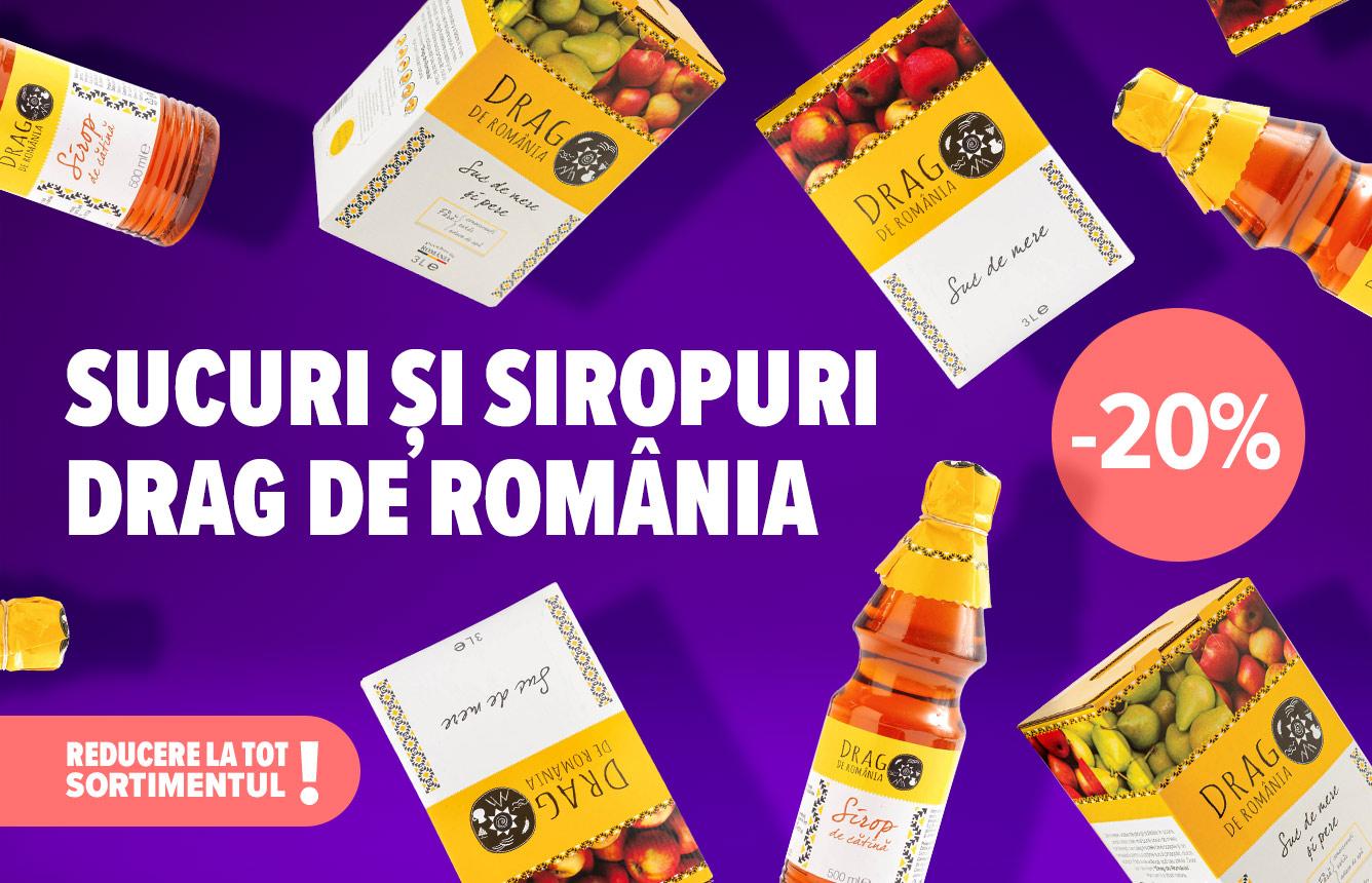 Dă-ți un refresh dulce de primăvară. Profită de reducerea de 20% la tot sortimentul de sucuri și siropuri Drag de România. Disponibilă la casa de marcat, în limita stocului disponibil.