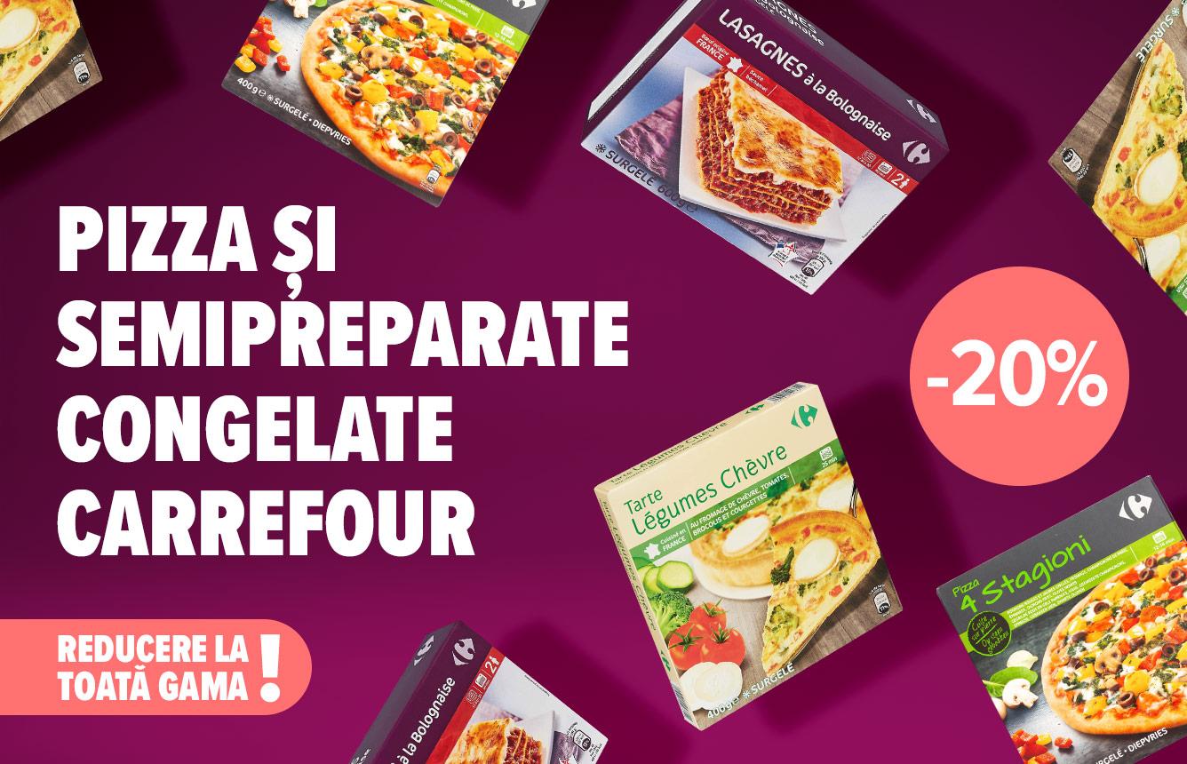 Ai poftă de ceva foarte rapid și foarte gustos? Azi ai 20% reducere la toată gama de pizza și semipreparate congelate Carrefour. Reducerea e valabilă la casa de marcat, în limita stocului dis