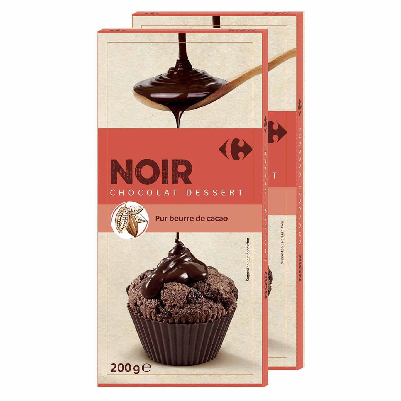 Ciocolată neagră pentru desert Carrefour 2x200g