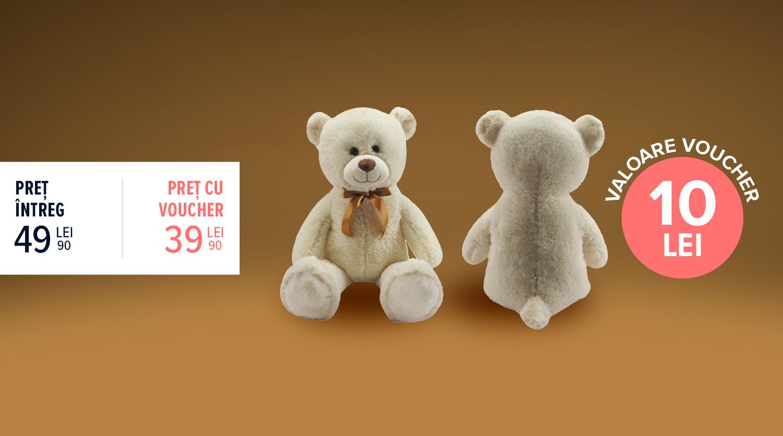 Urs de pluș gigant, crem, Carrefour