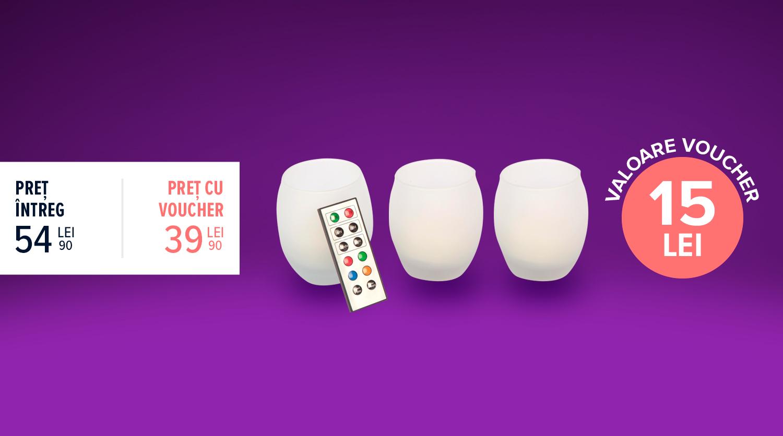 Candelă LED RGB în formă de ou, set 3 bucăți