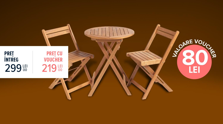 Set mobilier pentru balcon Bali, 3 piese, lemn Acacia