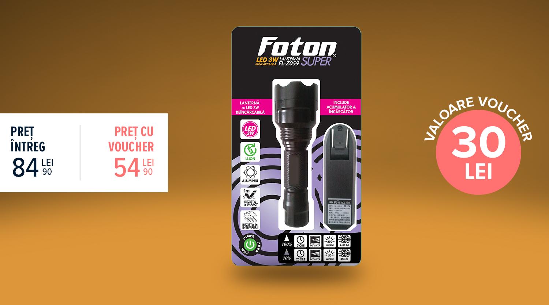 Lanternă Foton Super Z059 LED 3W acumulator Litiu